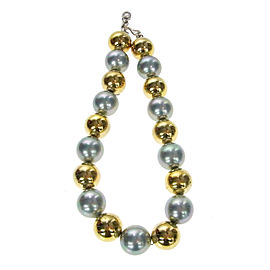 Yves Saint Laurent Gold & Silver Tone Hardware & Imitation Pearl Vintage Necklace