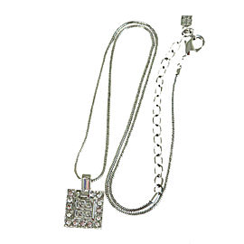 Givenchy Silver Tone Hardware and Rhinestone Chain Necklace