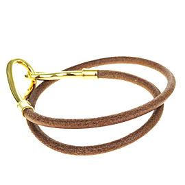 Hermes Gold Tone Hardware & Leather Jumbo Hook Double Wrap Bracelet