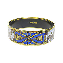 Hermes Gold Tone Hardware & Cloisonne Enamel Bangle Bracelet