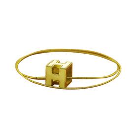 Hermes Gold Tone Hardware & White Logos H Cube Necklace