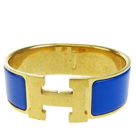 Hermes H Logo Gold Tone Hardware & Blue Plastic Bangle Bracelet