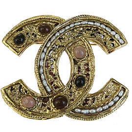 Chanel CC Logo Gold-Tone Hardware with Color Stone Pin Brooch