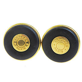 Hermes Selle Gold Tone Hardware & Leather Button Style Clip-On Earrings