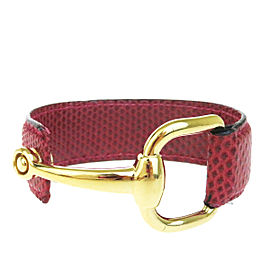 Gucci Lizard Skin Leather & Gold Tone Hardware Bangle Bracelet