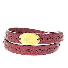 Fendi Selleria Leather & Gold Tone Hardware Double Wrap Bangle Bracelet