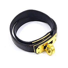 Hermes Kelly Brown Leather & Gold Tone Hardware Double Tour Bangle Bracelet