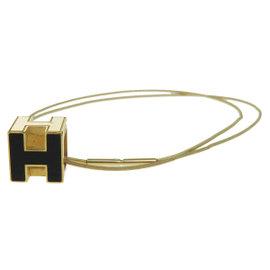 Hermes Logos Gold Tone Hardware H Cube Pendant Necklace