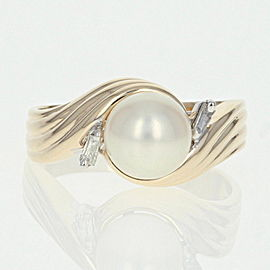 14K Yellow Gold Cultured Pearl, Diamond Ring Size 10