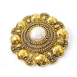 Chanel Gold Tone Hardware and Fake Pearl Vintage Pin Brooch