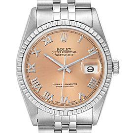 Rolex Datejust 36 Salmon Roman Dial Steel Mens Watch