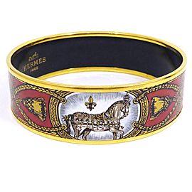Hermes Gold Tone Hardware & Cloisonne with Enamel Cheval Bangle Bracelet Gold