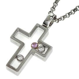 Chopard Happy Cross 18K White Gold Diamond Pink Sapphire Necklace