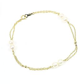 Mikimoto 18K Yellow Gold Pearl Chain Bracelet