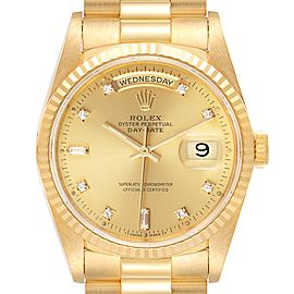 Rolex President Day-Date 36mm Yellow Gold Diamond Mens Watch
