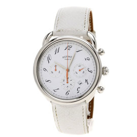 Hermes Arceau AR4.910a Stainless Steel & Leather Mens Watch