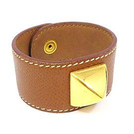 Hermes Medor Gold Tone Hardware Leather Thick Bangle Bracelet