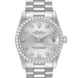 Rolex President Datejust Midsize White Gold Diamond Ladies Watch