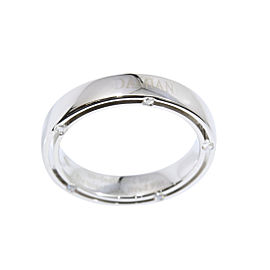 Damiani Brad Pitt 18K White Gold and Diamond Band Ring Size 6.75