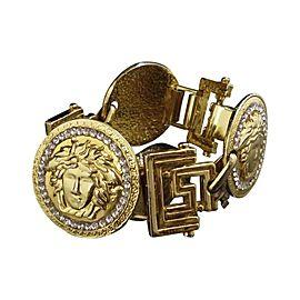 Gianni Versace Gold Tone Hardware & Rhinestone Medusa Vintage Bracelet