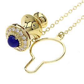 Mikimoto 18K Yellow Gold Lapis Lazuli, Diamond, Lapis Brooch