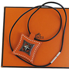Hermes Sterling Silver and Leather Orange Logos Touareg Necklace