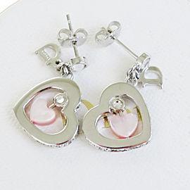Christian Dior Silver Tone Hardware Rhinestone Logos Heart Pierce Earrings