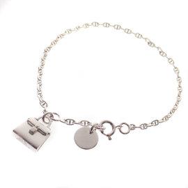 Hermes 925 Sterling Silver Bag Motif Bracelet