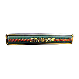 Hermes Gold Tone Hardware and Cloisonne Pin Brooch