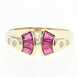 14K Yellow Gold Ruby 0.06ctw Diamond Ring Size 7