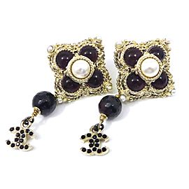 Chanel Coco Mark Colored Stones Swing Clip-on Earrings