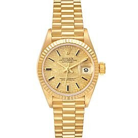 Rolex President Datejust Linen Dial Yellow Gold Ladies Watch