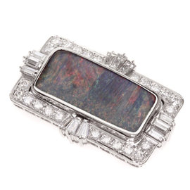 Mikimoto PT900 Platinum with 7.27ct. Opal and 1.66ctw. Diamond Brooch