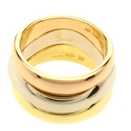 Cartier Love Milling 18K Yellow White & Rose Gold Ring Size 4.5