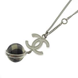 Chanel Coco Mark Silver Tone Hardware Pendant Necklace