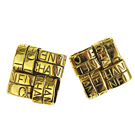 Chanel Gold Tone Hardware CC Logos Square Clip-On Earrings