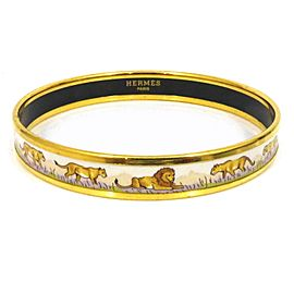 Hermes Cloisonne Gold Tone Hardware & Enamel Animal Bangle Bracelet
