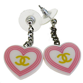 Chanel Plastic & Silver Tone Hardware CC Logos Heart Pierce Earrings