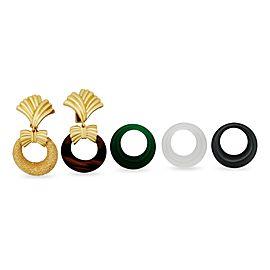 Van Cleef & Arpels 18K Yellow Gold Interchangeable Door Knocker Hoop Earrings