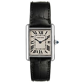 Cartier Tank Louis Large White Gold Blak Strap Unisex Watch W1540956
