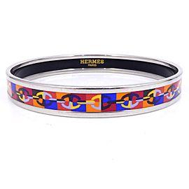 Hermes Chaine d'Ancre Silver Tone Enamel Cloisonne Bangle Bracelet