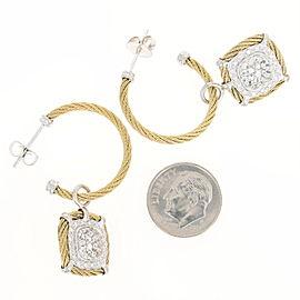 Charriol Colorless 18K Yellow Gold, Stainless Steel Topaz, Diamond Earrings