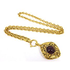 Chanel Gold Tone Hardware with Colored Stone Coco Mark Pendant Necklace