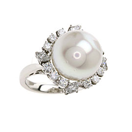 Mikimoto PT950 Platinum with Cultured Pearl and Diamond Ring Size 4.5