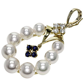 Mikimoto 18K Yellow Gold with Cultured Pearl Sapphire and Diamond Pendant