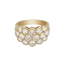Van Cleef & Arpels 18K Yellow Gold Pave Diamond Ring Size 7