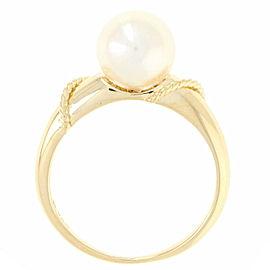 Mikimoto Akoya 18K Yellow Gold Cultured Pearl Ring Size 5.5