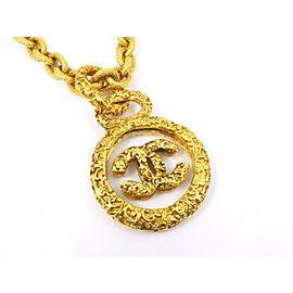 Chanel Gold Tone CC Pendant Necklace