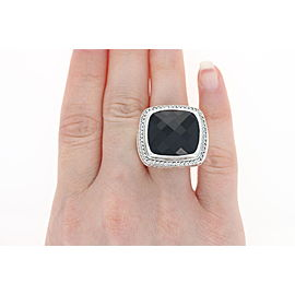 David Yurman Albion Sterling Silver Onyx, Diamond Ring Size 10
