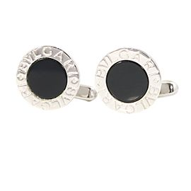 Bulgari Sterling Silver Onyx Cufflinks